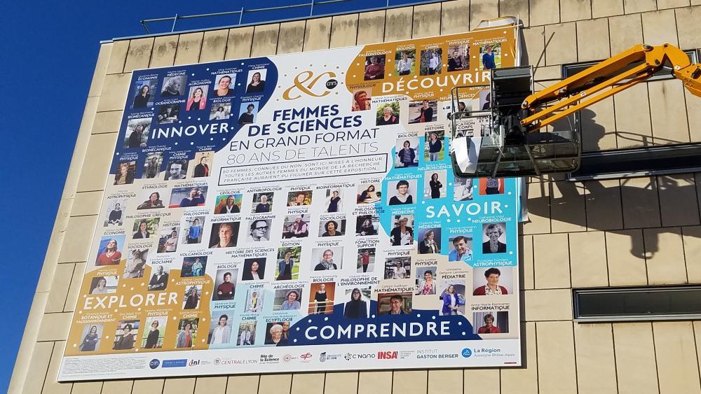 poster-geant-campus ecole centrale lyon-CNRS-80-ans-femmes-de-science